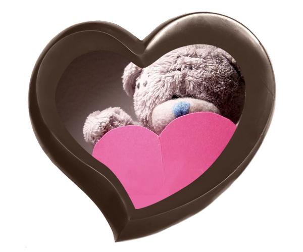 Шоколад в форме сердца с полноцветной печатью к 14 Февраля