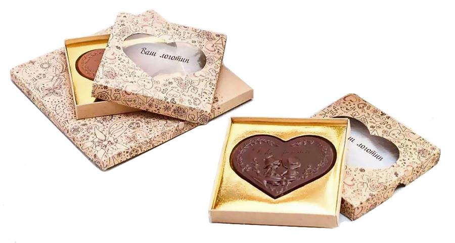 Шоколадное сердце с логотипом