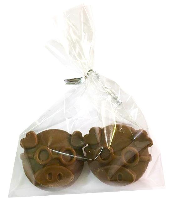 Фигурки поросят из шоколада в пакетике