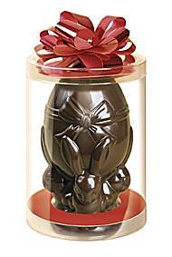 Шоколадная фигурка в форме пасхального яйца в прозрачном тубусе