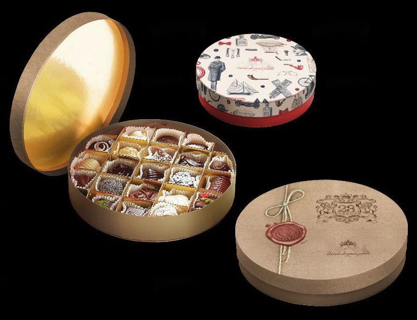 Подарочные конфеты в круглой коробочке