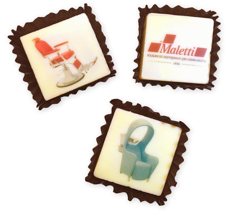 Набор конфет с полноцветной печатью и логотипом Maletti