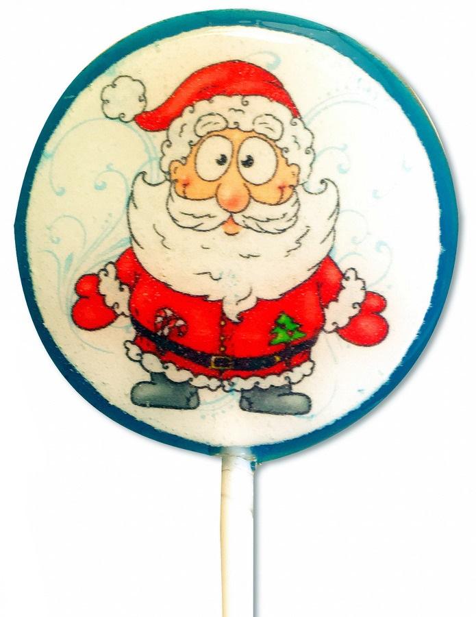 Круглая конфетка из шоколада с полноцветной печатью изображения Деда Мороза