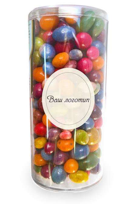 Цветные конфеты в прозрачной пластиковой баночке с логотипом