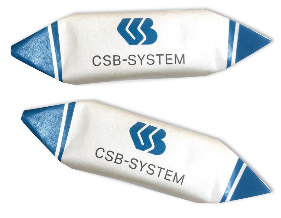 Шоколадные конфеты с логотипом CSB-System в завертке-лодочке