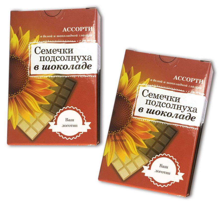 Семечки подсолнечника в шоколадной или белой глазури в коробочках с логотипом