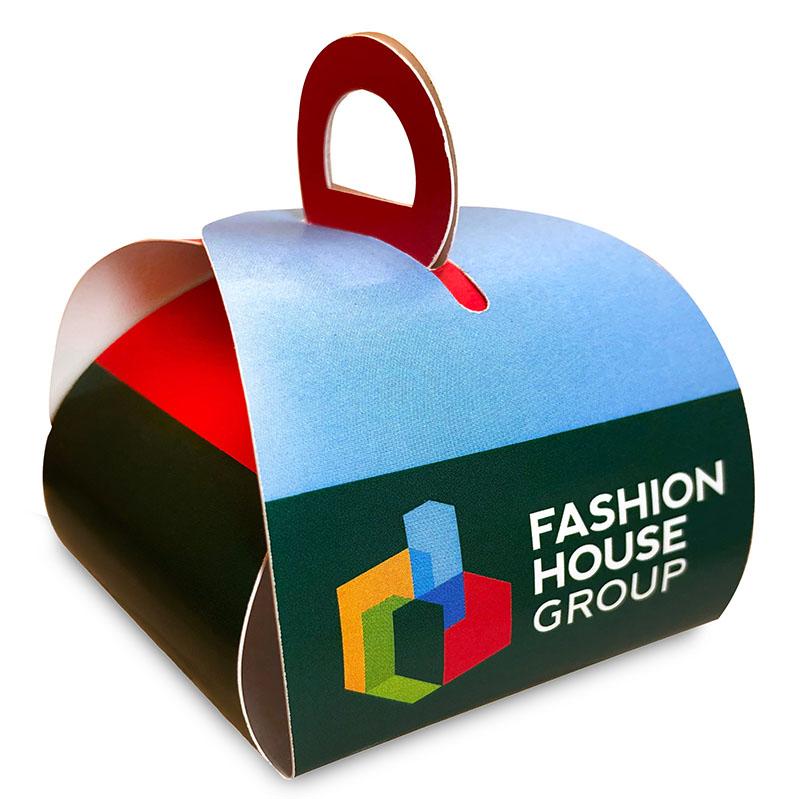 Конфеты в коробочке-сундучке с логотипом Fashion House Group