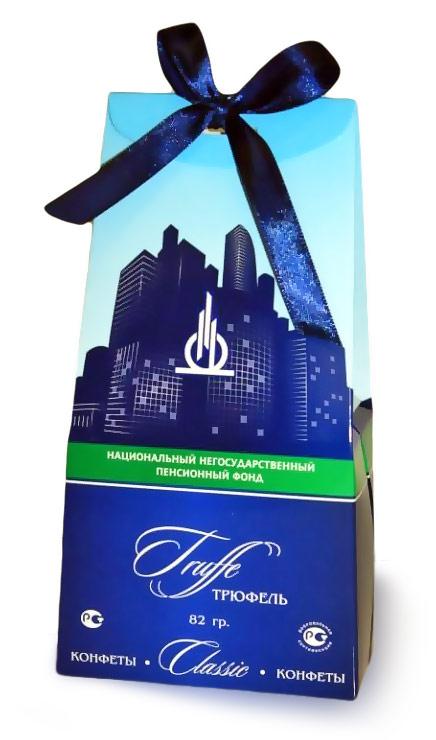 Трюфели в коробочках с лентой с логотипом Национального негосударственного пенсионного фонда
