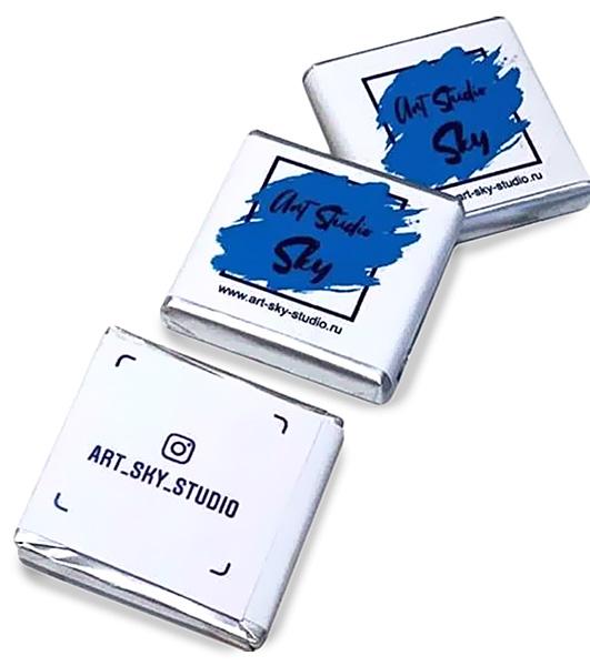 Плитки шоколада 5 г. с логотипом Art Sky Studio