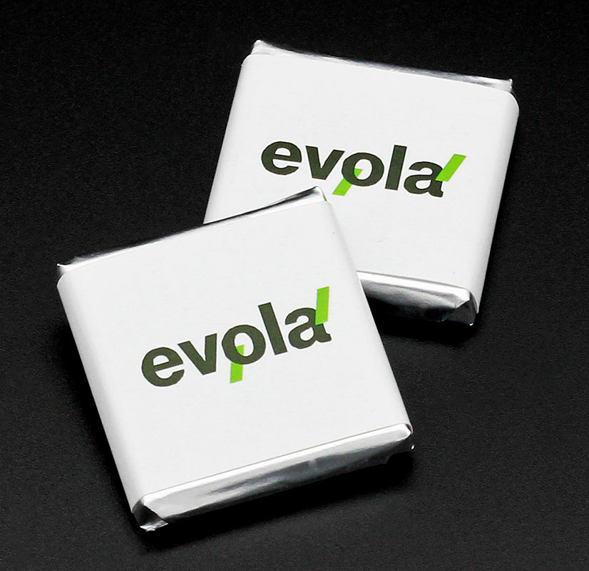 Плитки шоколада 5 г с логотипом Evola