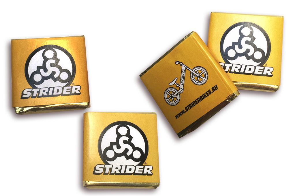 Шоколад 5 г  с логотипом Strider