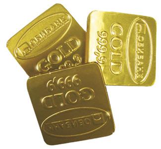 Шоколадные золотые слитки с логотипом