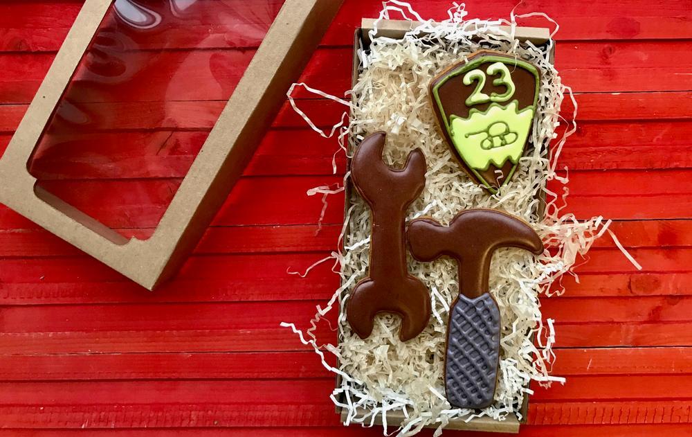 Печенье, расписанное глазурью на 23 Февраля