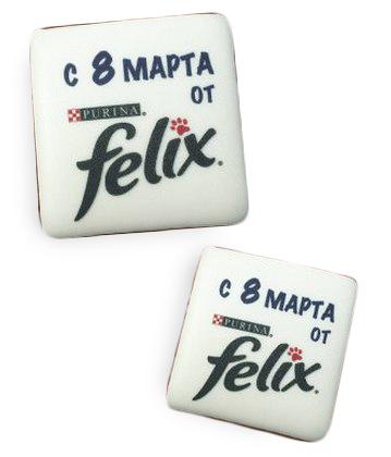 Печенье с печатью логотипа Felix от Purina на 8 Марта