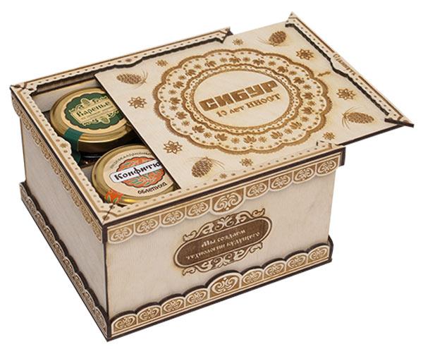 Наборы сибирских эколакомств в коробочках и сундучках из дерева