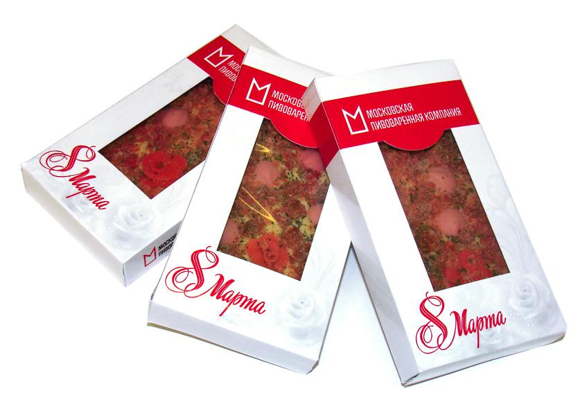 Эксклюзивный шоколад с наполнителями на 8 Марта с логотипом Московской пивоваренной компании