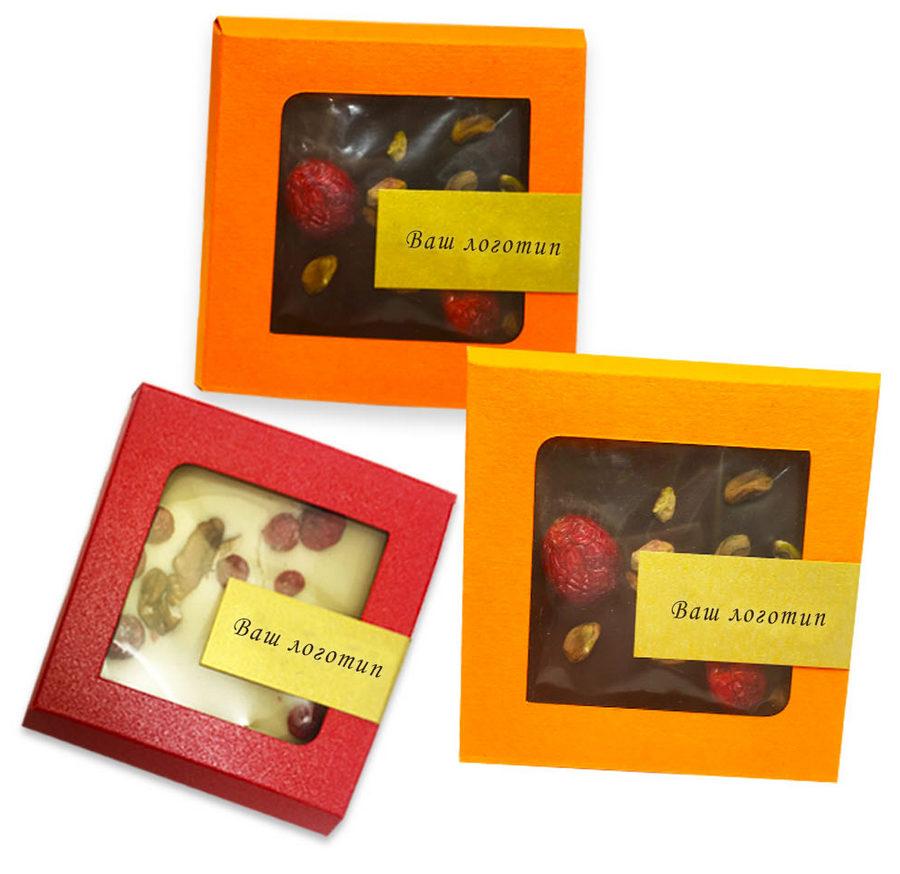 Эксклюзивный шоколад с наполнителями в квадратной коробочке