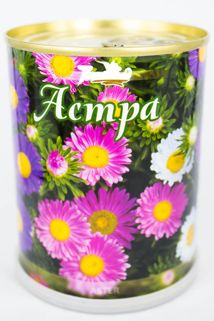 Астра - цветы в банке с логотипом