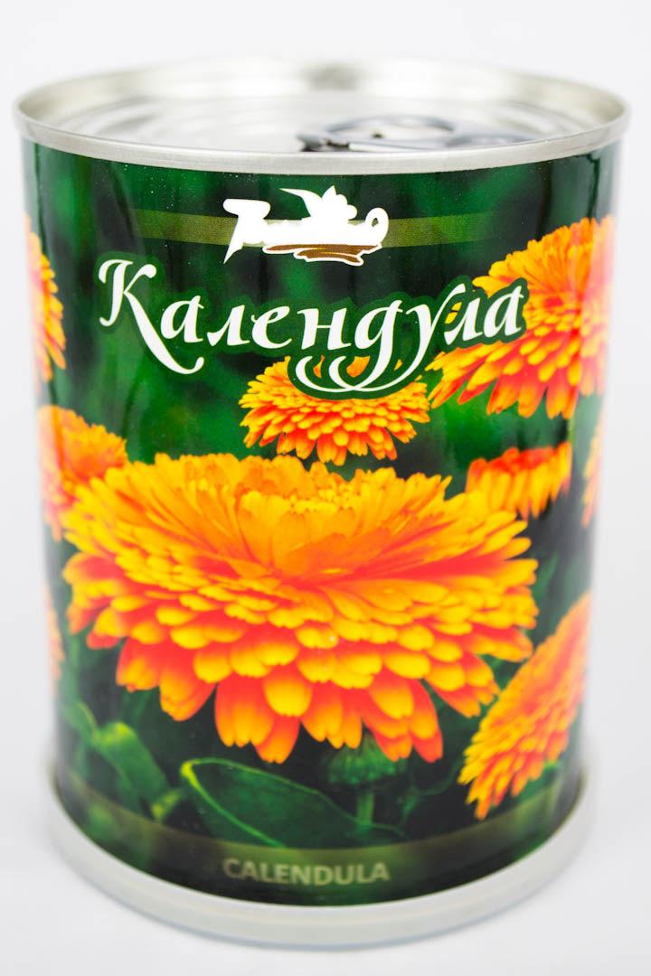 Календула - цветы в банке с логотипом