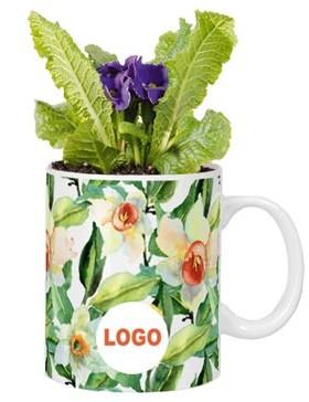 Цветы в кружках с логотипом