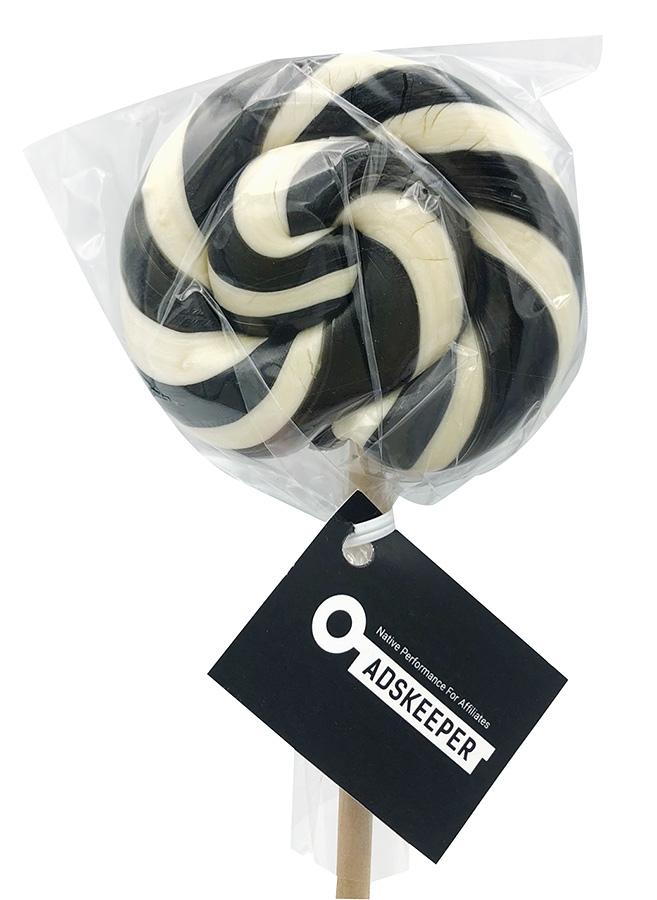 Черно-белый спиральный леденец-спираль с логотипом Adskeeper