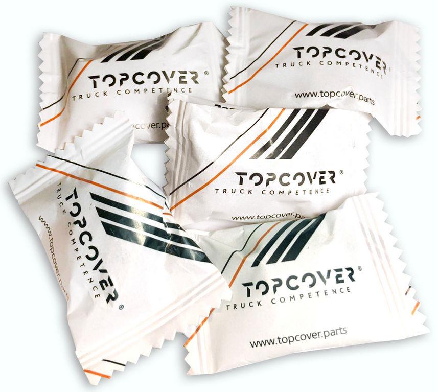 Карамель с логотипом Topcover в упаковке флоу-пак