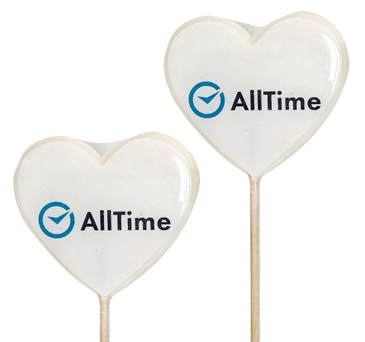 Леденцы-сердечки с логотипом AllTime