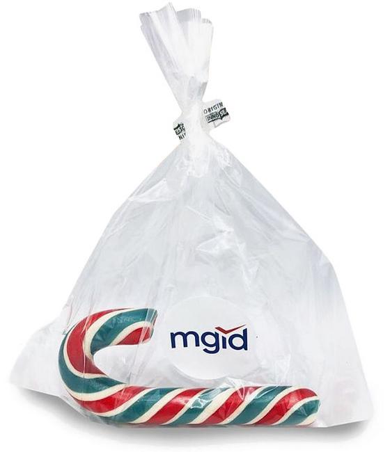 Леденец-трость в пакетике с логотипом Mgid