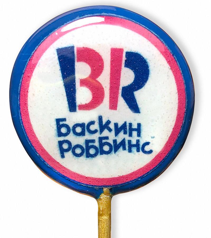 Леденец на палочке с логотипом Баскин Роббинс