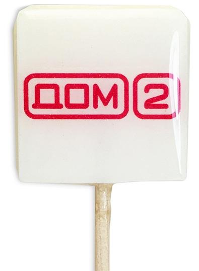 Квадратный леденец на палочке с логотипом Дома 2