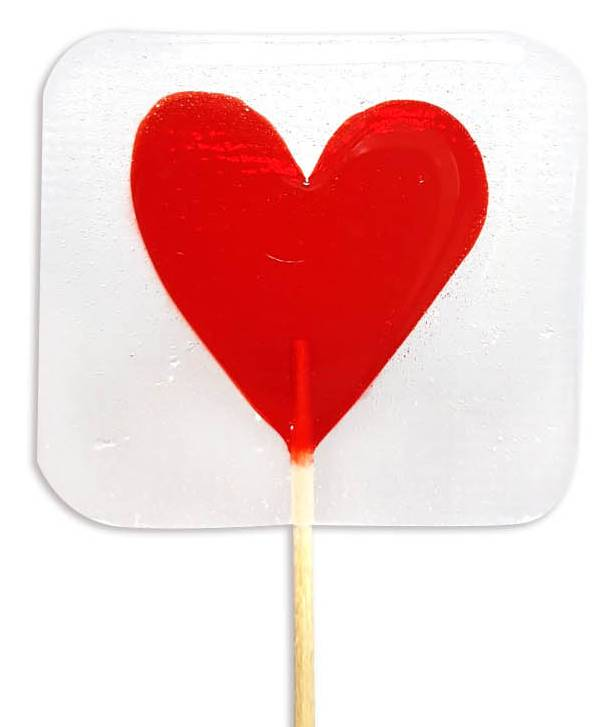 Прозрачные леденцы-сердечки с цветными вкраплениями