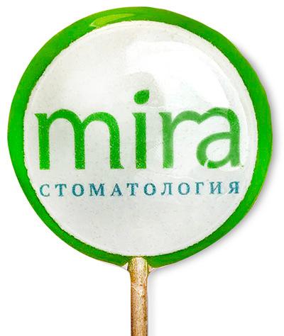 Леденец с логотипом стоматологической клиники Mira