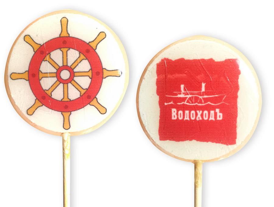 Леденцы на палочке с логотипом компании Водоходъ