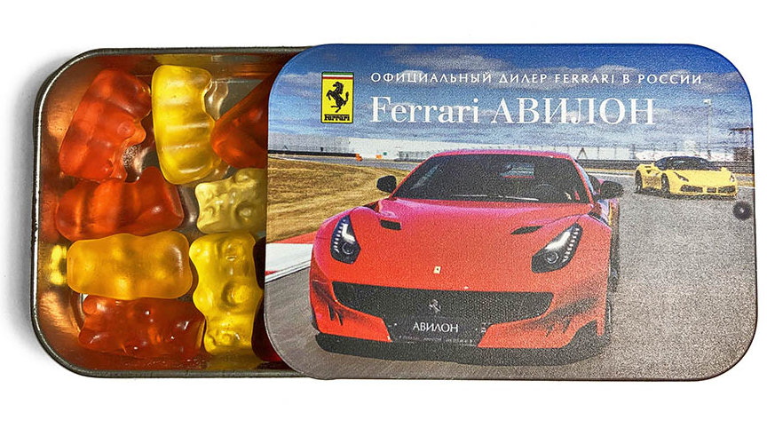 Мармелад в металлической баночке слайд-тин с символикой Ferrari Авилон