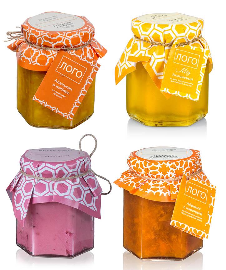 Мед, крем-мед, варенье, которое можно поместить в домик