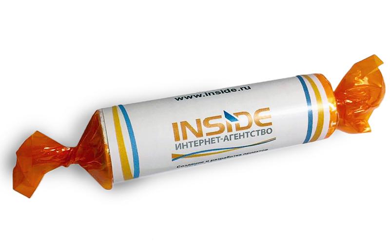 Аскорбинка в роллах с логотипом интернет-агентства Inside