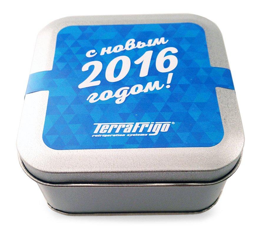Конфетки с логотипом в металлической баночке