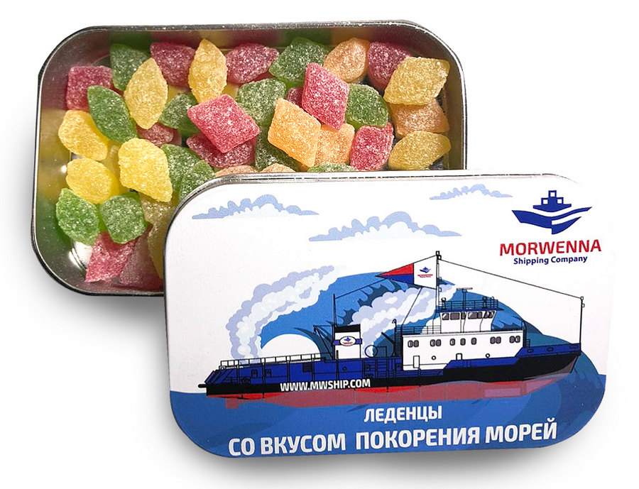 Монпансье в металлической баночке с логотипом Morewenna