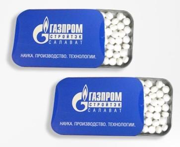 Освежающие конфеты в прямоугольных металлических баночках Slide-Tin c логотипом Газпром Стройтех Салават