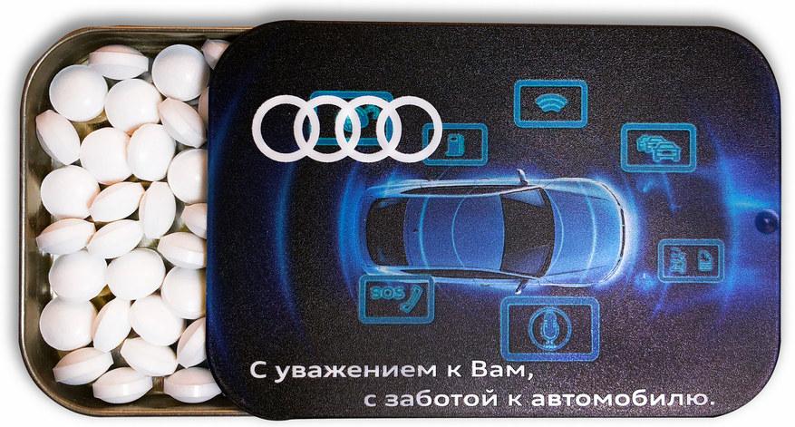 Освежающее драже в металлической баночке с логотипом Audi