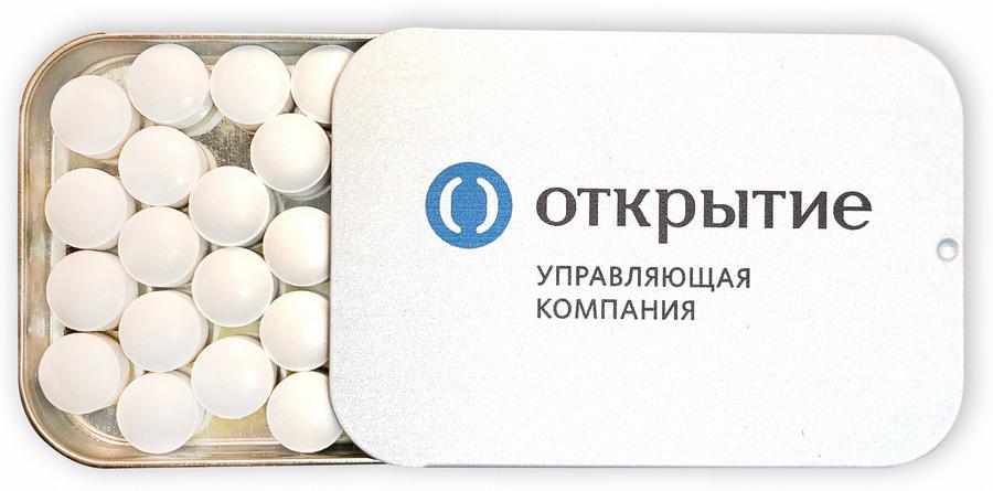 Освежающие драже в металлической баночке с крышкой-слайдером и логотипом УК Открытие