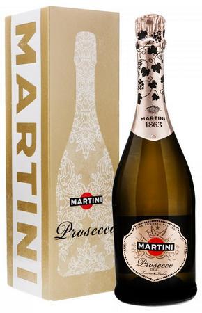 Игристое вино Martini Prosecco 0,7 литра. Белое сухое в подарочной коробке
