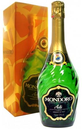 Игристое вино Mondoro Asti 0,7 литра. Белое сладкое в подарочной коробке
