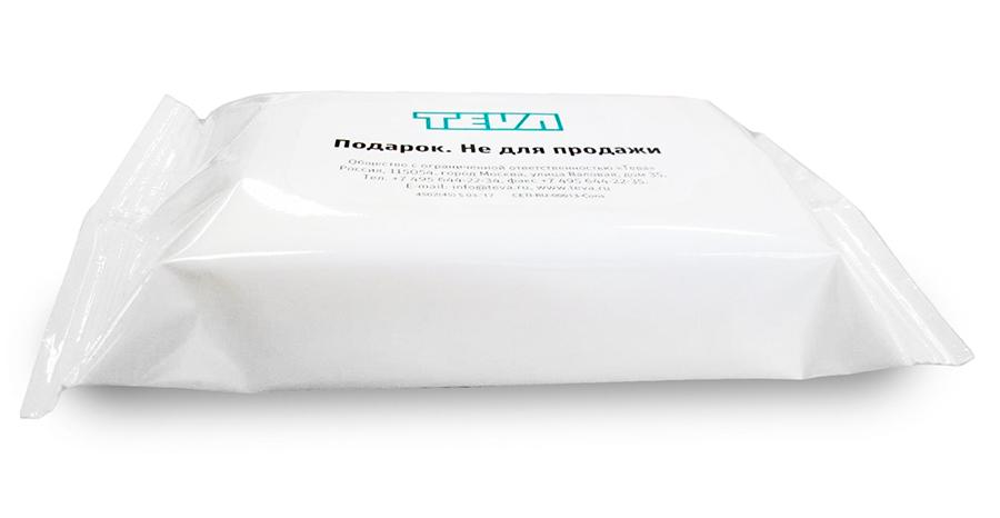 Влажные салфетки для рук и лица с логотипом Teva. 20 штук