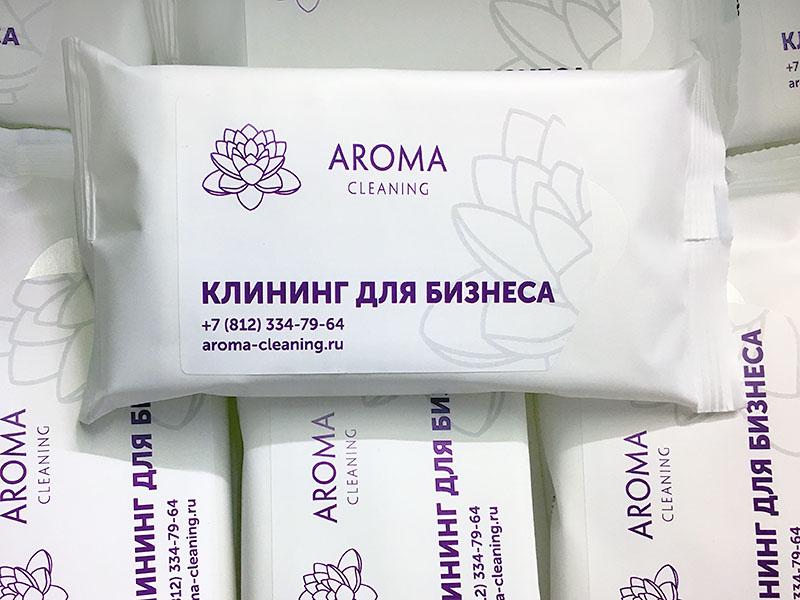 Влажные салфетки с логотипом Aroma Cleaning