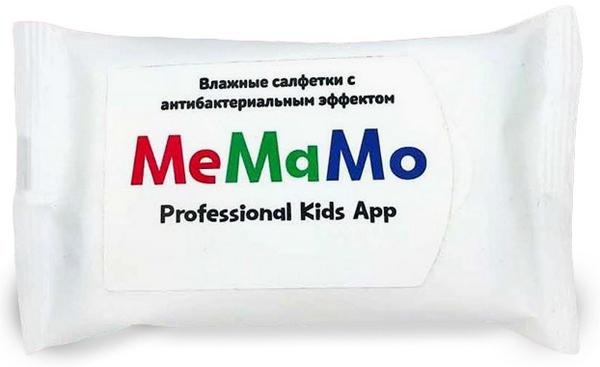 Влажные салфетки в белой упаковке с логотипом MeMaMo