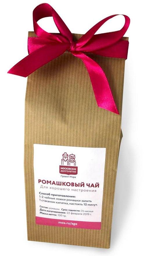 Ромашковый чай в крафт-пакете с лентой. Московское долголетие. Проект мэра