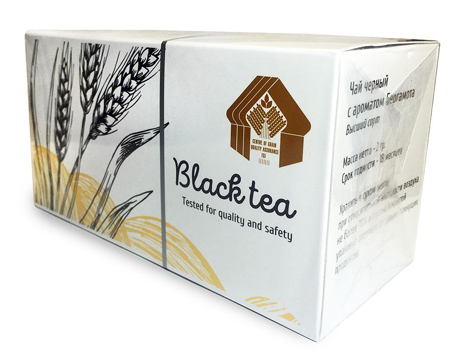 Целлофанированная коробочка с чаем с логотипом Федерального центра оценки безопасности и качества зерна и продуктов его переработки