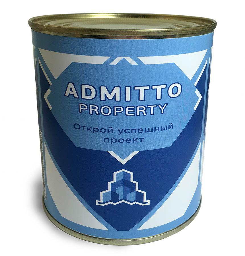 Консервная банка с логотипом Admitto property