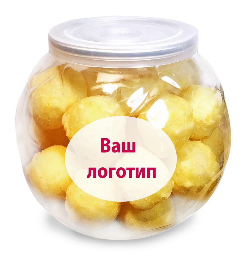 Прозрачная баночка с конфетами, на которую может быть нанесен логотип вашей компании